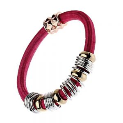 Festival Fashion Jewellery: Fuschia Pink Cord Stretch Bracelet with Multi Tone Bead