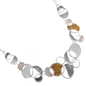 Statement Fashion Jewellery: Orange and Grey Necklace With Shiny Circles Part-Filled with Beads