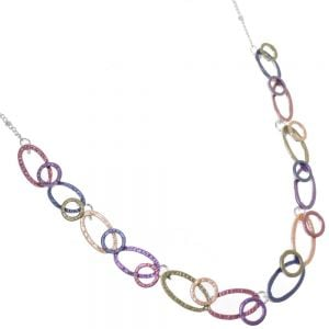 Colourful Fashion Jewellery:  Metallic Rainbow Necklace with Linked Circles and Ovals