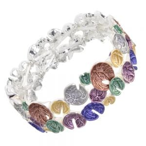 Statement Fashion Jewellery: Chunky Bracelet with Squiggle Detail Matt Rainbow Tone Concave Disc Design