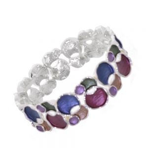 Statement Fashion Jewellery: Multi-Coloured Overlapping Circles Bracelet in Rainbow Tones