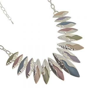 Colourful Fashion Jewellery:  Statement Necklace with Flowing Silver over Pointed Pink, Blue and Purple Pendants