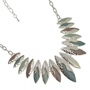 Colourful Fashion Jewellery:  Statement Necklace with Flowing Silver over Pointed Teal, Green and CoffeeTone Pendants