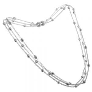 TRIPLE LAYERED SILVER AND BOBBLE FASHION NECKLACE WITH A MAGNETIC CLASP