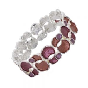 Statement Fashion Jewellery: Quirky Overlapping Circles Bracelet in Matt Metallic Dark Red Tones