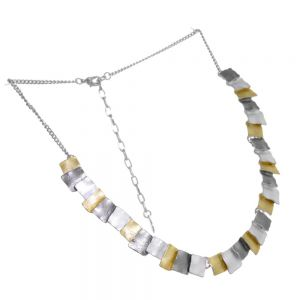 Geometric Fashion Jewellery: Multi-Tone Small Squares Design Necklace with Matt Metallic Finish