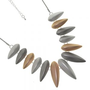 Beautiful Fashion Jewellery: Soft Rose Gold and Silver Necklace with 3D Rounded Spike Motif