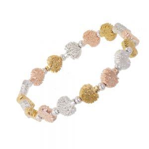 Adorable Fashion Jewellery: Stretch Bracelet with Delicate Tree Motif in Mixed Metal Tones