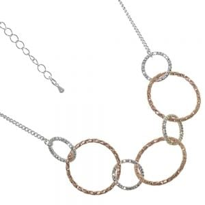 Gracee Fashion Jewellery: Delicate Rose Gold and Silver Tone Linked Circle Necklace (GR110)