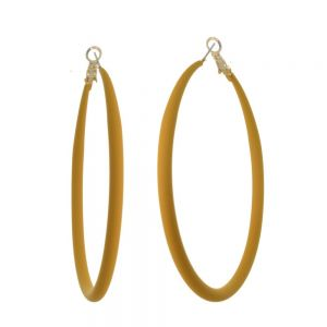 Fun Fashion Jewellery: Large 73mm Hooped Earrings with Yellow/Mustard Rubber Neoprene Coating (M583)Y)
