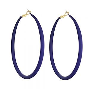 Fun Fashion Jewellery: Large 73mm Hooped Earrings with Navy Rubber Neoprene Coating (M583)N)