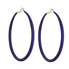 Fun Fashion Jewellery: Large 73mm Hooped Earrings with Navy Rubber Neoprene Coating (M583)N)