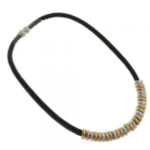 Rose Gold Range: Black Magnetic Necklace with Multi-Tone Hoop Beads