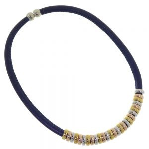Multi-Tone Fashion Jewellery: Simple Navy Blue Cord Magnetic Collar with Multi-Tone Bead Detail