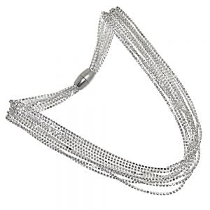 Beautiful Fashion Jewellery: Magnetic Multi-Strand Crystal Collar Necklace in Silver Tone