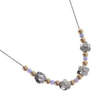 aviv Sterling Silver and Gold and Opal Beaded Chain