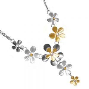 Mixed Metal Costume Jewellery: Multi-Tone Floral Fairytale Statement Necklace