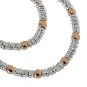 Multi-Tone Fashion Jewellery: Magnetic Silver Necklace with Rose Gold Beads