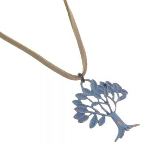 Boho Fashion Jewellery: Light Brown Suede Necklace with Metallic Turquoise Tree of Life Pendant