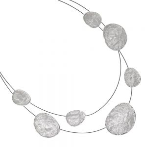 Gorgeous Costume Jewellery: Black Wire Collar Necklace with Bashed Texture Ovals