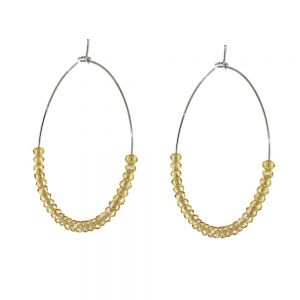 Striking Fashion Jewellery: 4cm Hoops with Tiny Citrine Crystal Beads (I10)C)