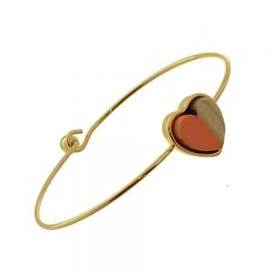 Beautiful Fashion Jewellery: Simple Gold Bangle with Wooden and Pastel Orange Acrylic Heart  (6cm Diameter) (I2)O)