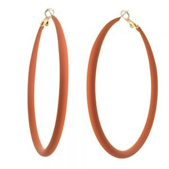 Fun Fashion Jewellery: Large 73mm Hooped Earrings with Orange Rubber Neoprene Coating (M583)O)