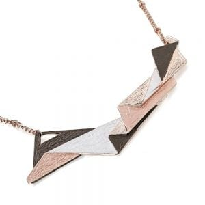 Unusual Fashion Jewellery: Textured Chocolate and Peach Tone and Rose Gold  Geometric 'Shards' Necklace