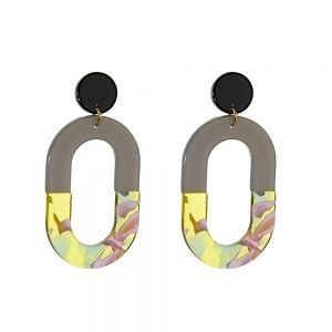 Statement Fashion Jewellery: Large Oval Drops in Block Grey and Mixed Yellow/Pink  (5.5cm x 2.5cm) (M146)A)