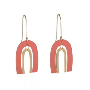 Unusual Fashion Jewellery: 4.2cm Long Drops Orange and Gold Double Horseshoe Earrings (M570)B)