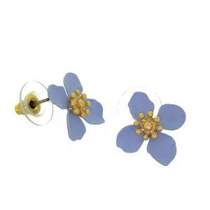 Colourful Fashion Jewellery: 1.8cm Pastel Blue and Gold Flower Stud Earrings (I18)b)