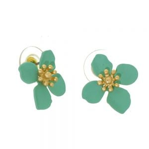 Colourful Fashion Jewellery: 1.8cm Mint Green and Gold Flower Stud Earrings (I18)m)