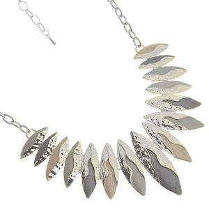 Beautiful Fashion Jewellery:  Statement Necklace with Flowing Silver over Pointed Grey and Cream Pendants