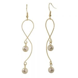 Lovely Fashion Jewellery: Delicate Vintage Style Looping Drop Earrings with Pearl Detail, Finished in a Soft Gold Tone [7.5cm Length]