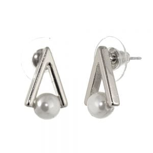 Contemporary Fashion Jewellery: Triangle Outline Stud Earrings with Pearl Detailing, Finished in a Soft SilverTone