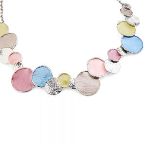 Fabulous Fashion Jewellery: Matt Blue, Pink and Pistachio Tone Bubble Necklace with Scratched Silver Textures (YK75)n)