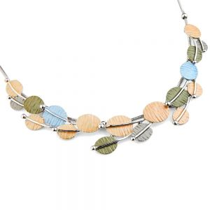 Pretty Fashion Jewellery: Short Necklace with Blue, Green and Pink Textured Ovals