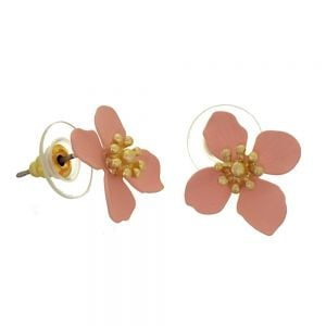 Colourful Fashion Jewellery: 1.8cm Pink and Gold Flower Stud Earrings (I18)p)
