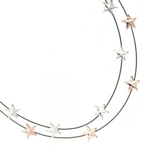 Contemporary Fashion Jewellery: Black Wire Layered Necklace with Rose Gold and Silver Stars (M539)