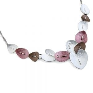 Pretty Fashion Jewellery: Short Necklace with White, Coffee and Pink Tone Textured Hearts and Leaves