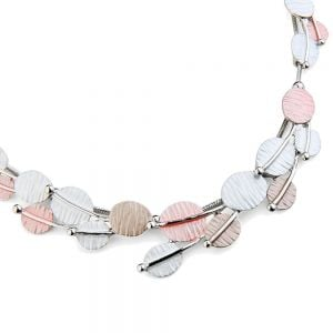 Pretty Fashion Jewellery: Short Necklace with White, Coffee and Pink Tone Textured Ovals