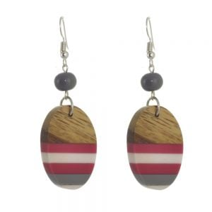 SUZ-BLUE-JP1907-PK Fashion Jewellery - RESIN & WOOD DROP EARRINGS IN DEEP PINK AND GREY(M172E)PK