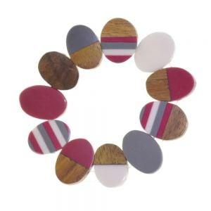 Fashion Jewellery - RESIN & WOOD BRACELET IN DEEP PINK AND GREY(M172B)PK