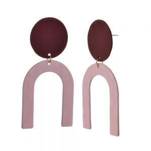 Contemporary Fashion Jewellery: Mulberry Purple and Pink Rubber Coated Abstract Earrings (6cm x 3cm) (M586(p)