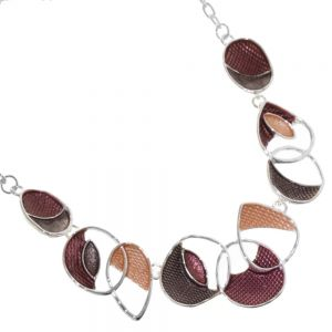 Unusual Fashion Jewellery: Necklace with Abstract Concave Shapes with Scale Textured Dark Red and Brown Details (R534)