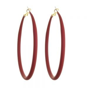 Fun Fashion Jewellery: Large 73mm Hooped Earrings with Red Rubber Neoprene Coating (M583)R)