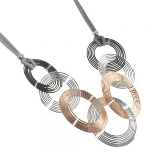 Contemporary Fashion Jewellery: Statement Necklace with Black Hematite, Rose Gold and Silver Concentric Wire Discs