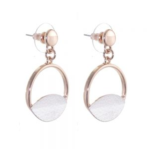 Contemporary Fashion Jewellery: Rose Gold Circle Drops with Textured Matt White Design (YK77)