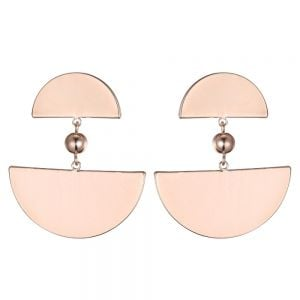 Lovely Fashion Jewellery:Rose Gold Art Deco Earrings with Semi-Circle and Pearl Design