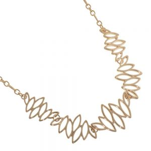 Beautiful Fashion Jewellery: Rose Gold Geometric Statement Necklace with Pointed Ovals Design